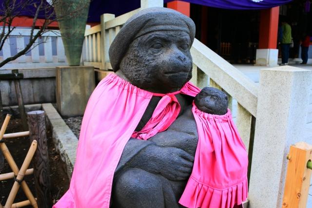 日枝神社 夫婦神猿像